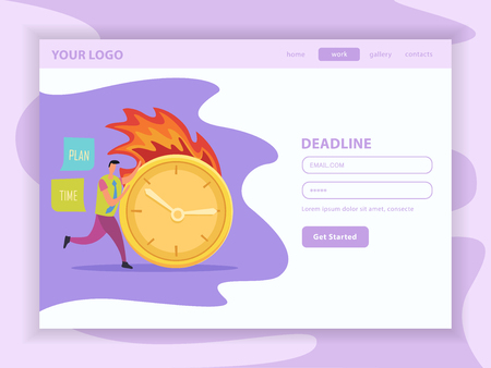 Deadline flat landing web page with user account and running human character with burning clock vector illustration
