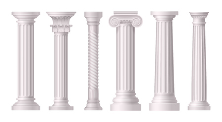 Antique white columns realistic icon set with different styles of greek architecrure vector illustration