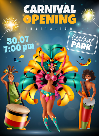 Brazilian annual carnival festival opening announcement colorful invitation poster with sparkling lights dancer musicians costumes vector illustration Banque d'images - 110165156