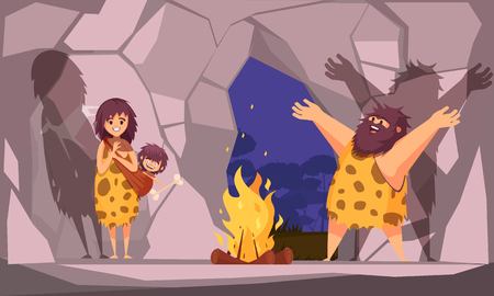 Cartoon poster with caveman family dressed in animal pelt collected around the fire in cave illustration