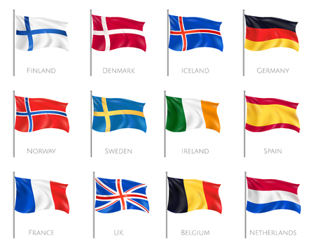 National flags set with Finland and Denmark realistic isolated vector illustration Çizim