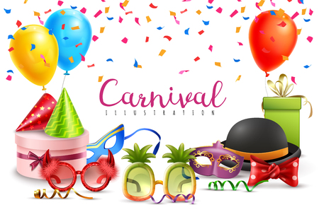Carnival masquerade party hats balloons confetti funny colored and shaped glasses  realistic composition invitation poster  illustration