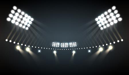 Fondo realista de luces de estadio con símbolos deportivos y tecnológicos ilustración vectorial
