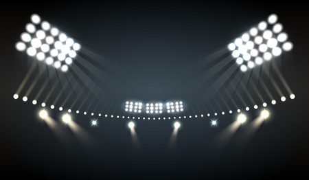 Stadium lights realistic background with sports and technology symbols vector illustration