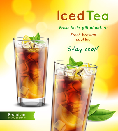 Iced tea package realistic advertising composition with 2 full glasses mint leaves lemon promoting text  illustration
