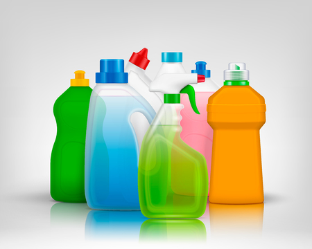 Detergent color bottles composition with realistic images of colourful bottles filled with washing soap with shadows vector illustration