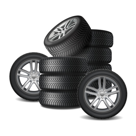 Heap of car wheels with alloy disks and new rubber tires realistic  illustration