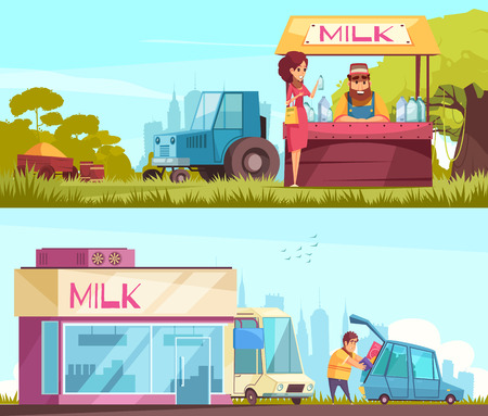 Milk production collection of two horizontal banners with outdoor compositions of urban and suburban milk trade booth vector illustration Illustration