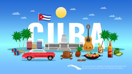 Cuba travel background with resort and holiday symbols flat vector illustration
