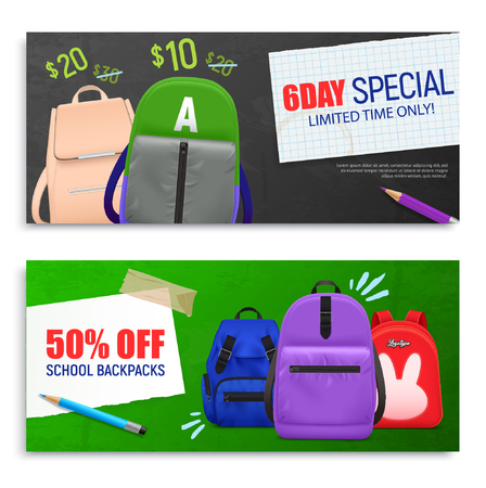 Set of two realistic school backpack horizontal banners with editable price text and images of bags vector illustration