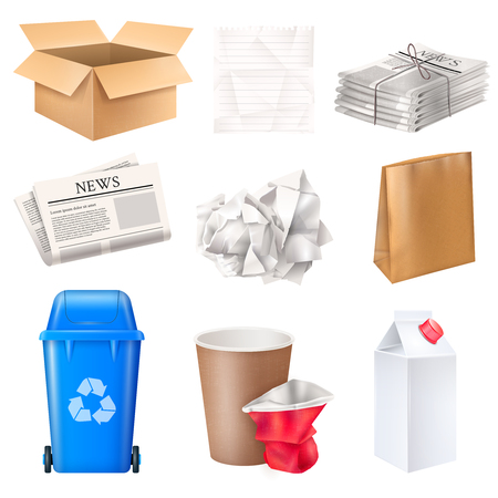 Abfall- und Abfallset mit realistischer isolierter Vektorillustration aus Pappe und Papier