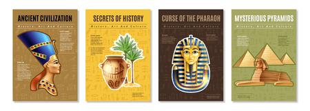 Carteles de Egipto con imágenes de la pirámide misteriosa de la tumba del faraón y artefactos antiguos ilustración vectorial de dibujos animados