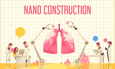 Nano construction flat vector illustration with group of scientists watching unique operation over recovery of lung by nanotechnologies