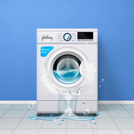 Broken washing machine realistic indoor composition with clothes washer and water pouring out of the door vector illustration