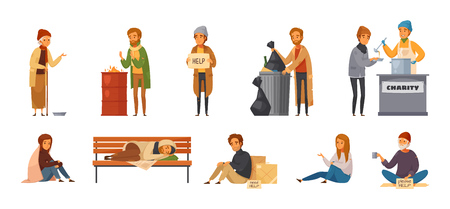 Isolated homeless people cartoon icon icon set with different age sex and types of homeless people vector illustration