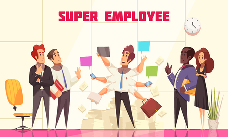 Super employee composition with people in office interior looking at their coworker with many hands symbolizing multitasking flat vector illustration Illustration