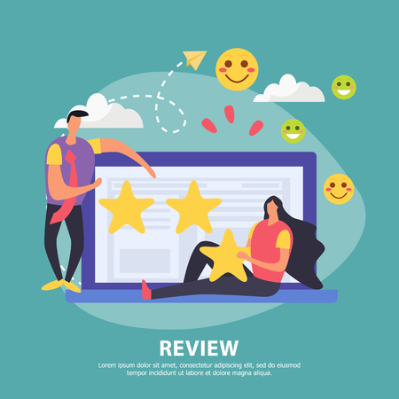 CRM customer relationship management background with editable text and doodle images of laptop computer with people vector illustration