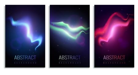 Conjunto de banderas verticales con coloridas auroras boreales sobre fondo oscuro ilustración vectorial aislada realista