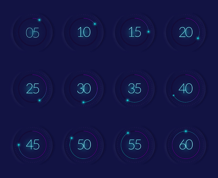 Interface countdown set with modern technology symbols realistic isolated vector illustration
