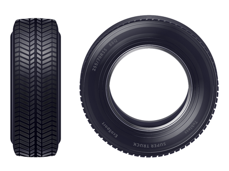 Set of realistic new car tires front and profile view isolated over white background vector illustration