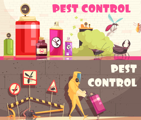 Pest control banners set of two horizontal banners with flat images of decontamination equipment and facilities vector illustration