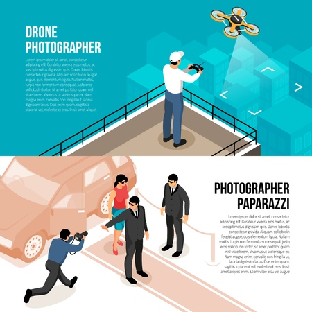 Professional photographer 2 horizontal isometric banners with remote controlled drone technology and celebrity shooting paparazzi  illustration