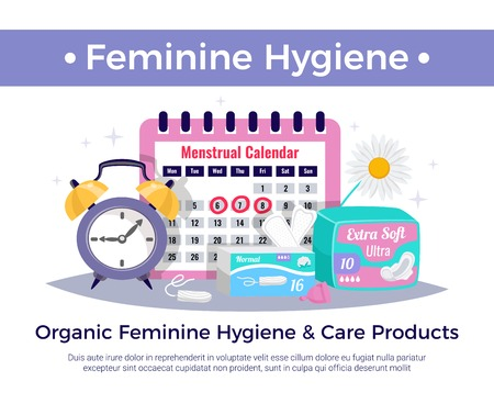 Organic feminine hygiene and care products flat advertising composition with menstrual calendar tampons ultra pads  illustration