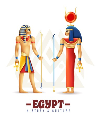 Egypt history and culture design concept in cartoon style with hathor and pharaoh persons vector illustration Illustration