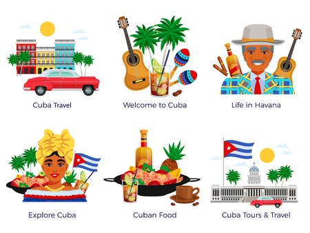 Cuba travel icons set with food and music symbols flat isolated vector illustration Illustration