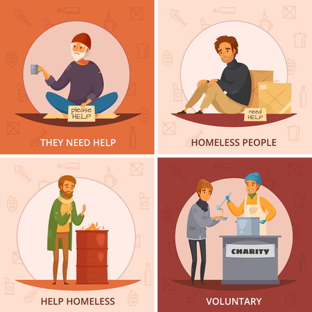 Four squares cartoon homeless people icon set with they need help voluntary and other descriptions vector illustration