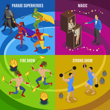 Performers and entertainment concept icons set with magic symbols flat isolated vector illustration Illustration
