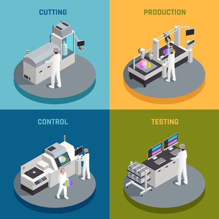 Semiconductor chip production isometric 2x2 design concept with images representing different stages of silicon chips manufactoring vector illustration Ilustracja