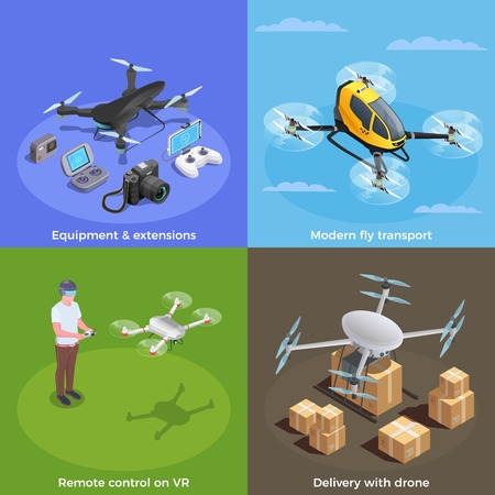 Drones isometric concept with remote controlled modern delivery transport and vr equipment set isolated vector illustration Ilustracja