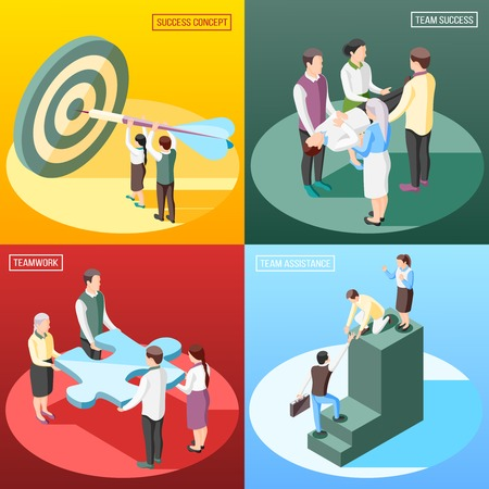 Success concept isometric 2x2 design concept with text and human characters of people and conceptual objects vector illustration