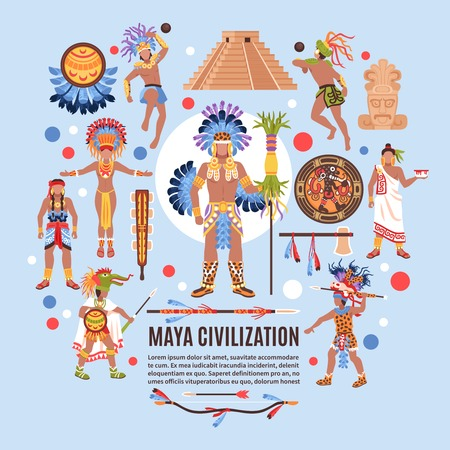 Maya civilization background composition of ethnic human characters traditional symbols and abstract shapes with editable text vector illustration