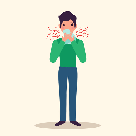 Allergy character sneezing concept with  symptoms symbols flat  illustration Stockfoto - 110165295