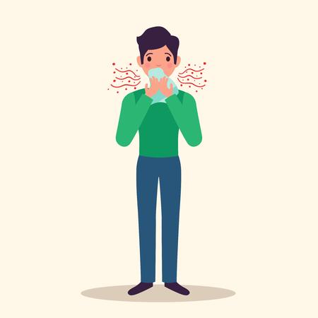 Allergy character sneezing concept with  symptoms symbols flat  illustration Illustration