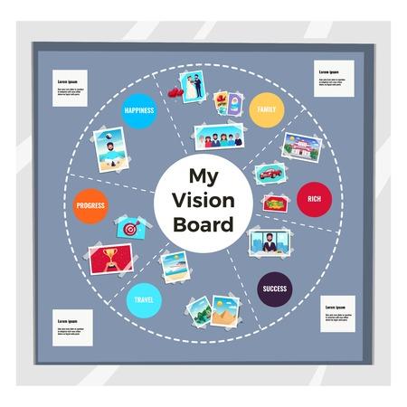 Conjunto de infografía de tablero de visión de sueños con viajes y símbolos familiares ilustración vectorial plana