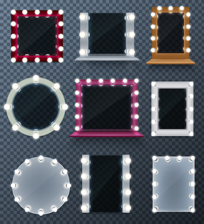 Wall makeup mirrors with different frames and lamps realistic set isolated on transparent background vector illustration