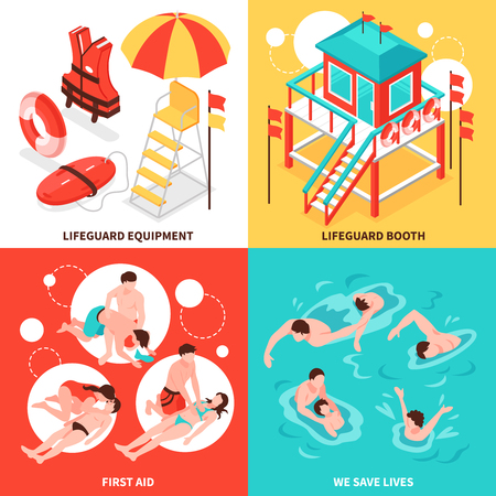 Beach lifeguards 2x2 design concept  set of  lifeguard inventory and saving drowning isometric compositions vector illustration