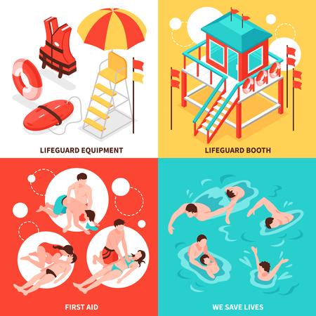 Strand Rettungsschwimmer 2x2 Designkonzept Set von Rettungsschwimmer Inventar und Ertrinken isometrische Kompositionen Vektor-Illustration zu retten Vektorgrafik