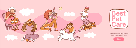 People and pets interaction with best pet care symbols horizontal flat vector illustration Vektorové ilustrace