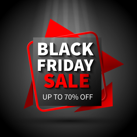Black friday sale flat design poster on dark background vector illustration
