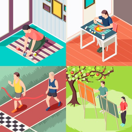 Alternative education sport activity painting classes and innovative learning methods isometric design concept isolated vector illustration