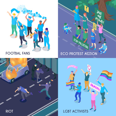 Protesting people isometric design concept with football fans eco meeting riot and lgbt activists isometric vector illustration