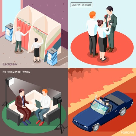Politicians during television program and interview voters at election day isometric design concept isolated vector illustration  イラスト・ベクター素材
