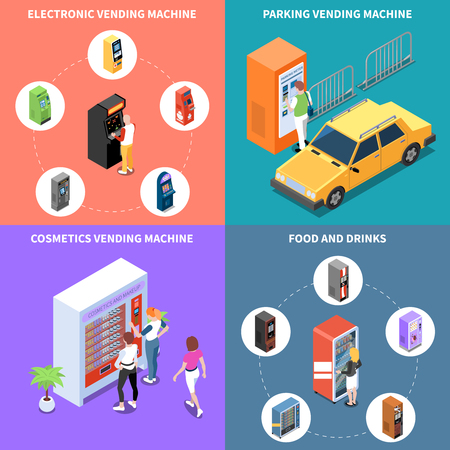 Vending machines with cosmetics food and drinks parking services isometric design concept isolated vector illustration Illustration