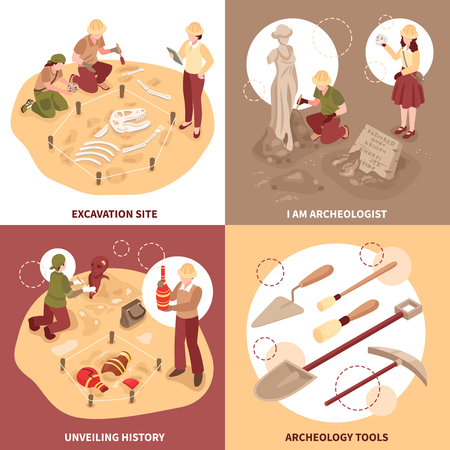 Archeology isometric design concept scientists with tools at excavation site and historical discoveries isolated vector illustration