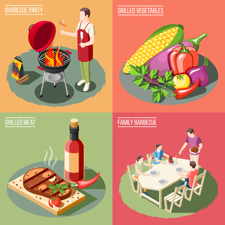 Grill bbq party isometric 2x2 design concept with different serving examples for barbecue food with people vector illustration