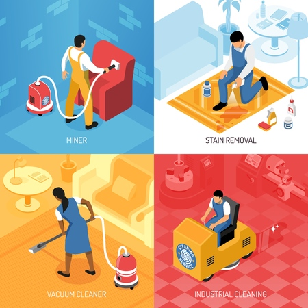 Cleaning service concept isometric set with industrial residential flooring polishing carpets refreshing stains removing isolated  illustration Illustration